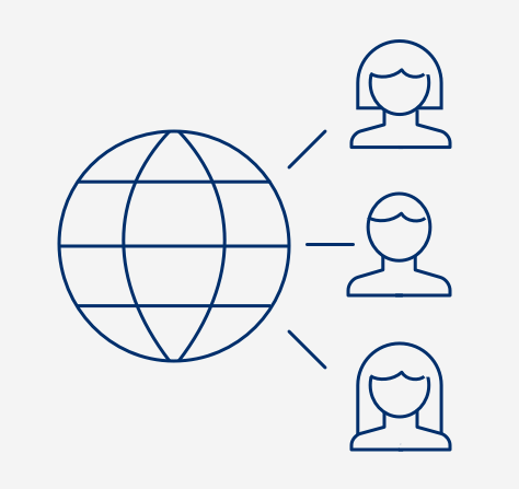 Icon of a stylized globe with lines connecting to three heads
