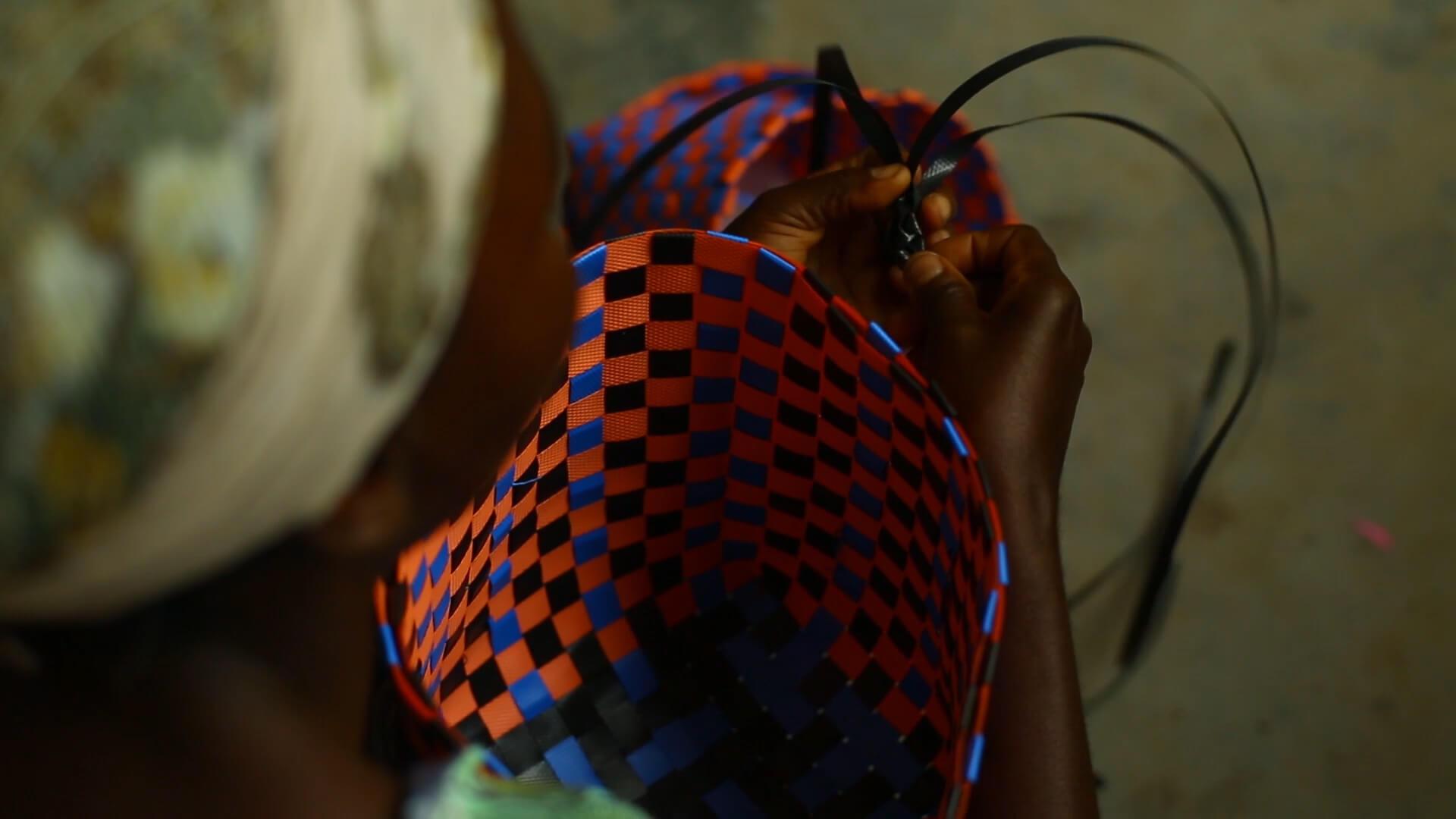 Woman hand weaving basked