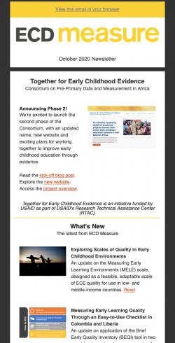 ECD Measure Newsletter, Oct 2020