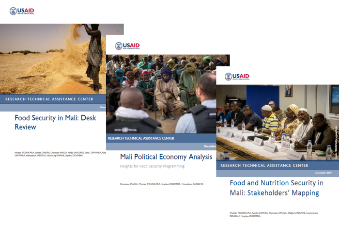 Tiled image of the covers of three RTAC reports on Mali