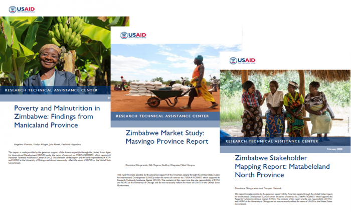 tiled image of the cover pages of three RTAC reports on Zimbabwe